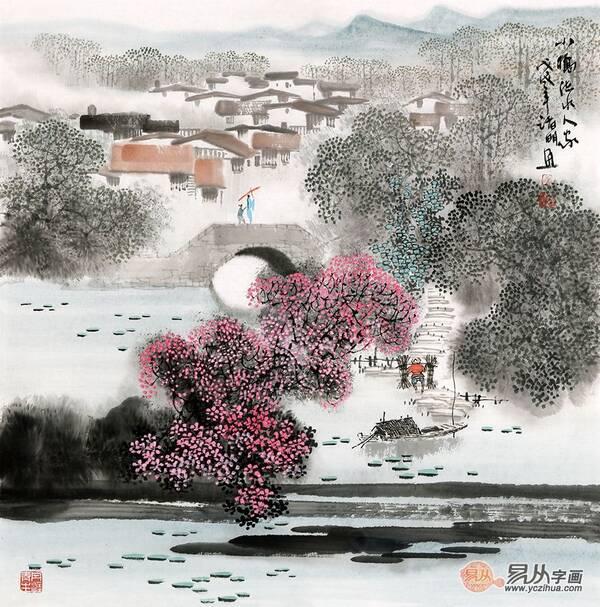 江南风景画 诸明最新小品画《小桥流水人家》