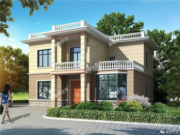 两层的平顶设计,简洁而又大方的俯视效果图,二楼的小露台,楼顶的绿植图片