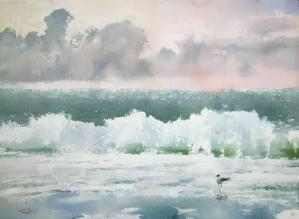 水是风景画中很难表现到位的, 画水,要表现出水各种形态.