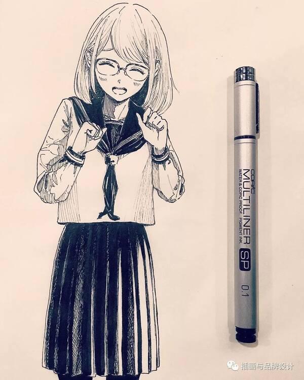 手绘丨一波简笔少女的漂亮黑白手绘,萌q版侧颜杀,简约