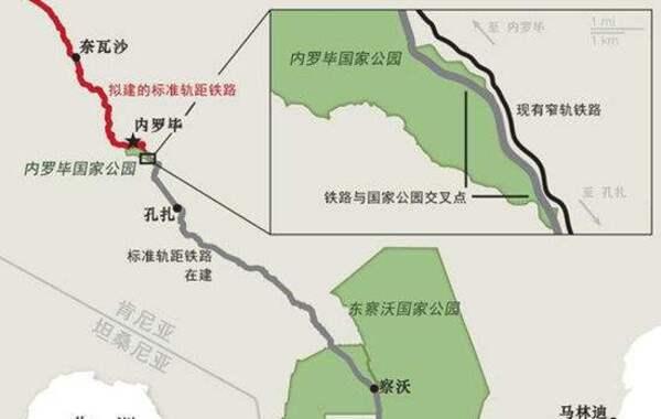 蒙内铁路示意图。
