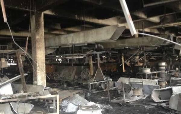 8月2日,江苏昆山一工厂发生爆炸,目前易造成超过65人死亡,120人伤。图为发生爆炸的核心车间内部情况。