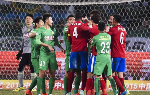2015年03月13日,北京,2015年中超次轮,北京国安1-0河南建业,两队球员发生激烈冲突。
