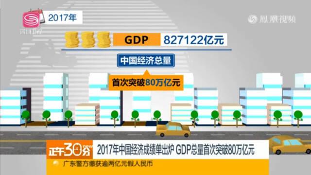 2017年中国经济成绩单出炉 GDP总量首次突破80万亿元