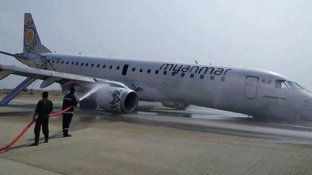 缅甸:客机机头触地