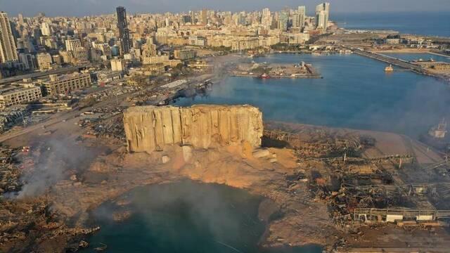 俯瞰黎巴嫩爆炸现场