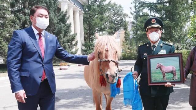 蒙古国国防部长向魏凤和赠送马匹