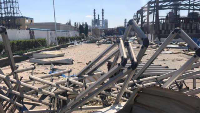 盐城化工厂爆炸24小时后核心区现场