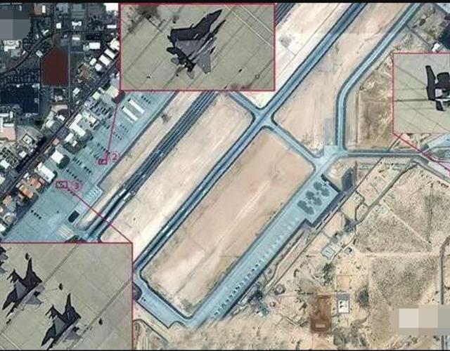 照片上可以清楚的看到F-15,F-16和A-10战机,还有指挥所,训练中心,机库和所有飞行跑道。从除了机库里面无法看到以外,可以看到大约数十架各型飞机。