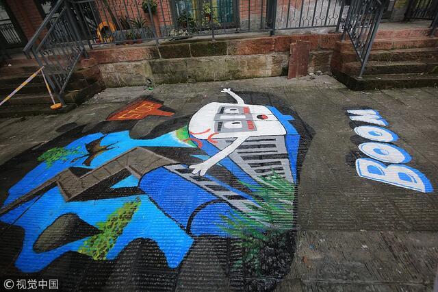 重庆:3d立体画进入老街巷 用数万块积木拼出重庆地标
