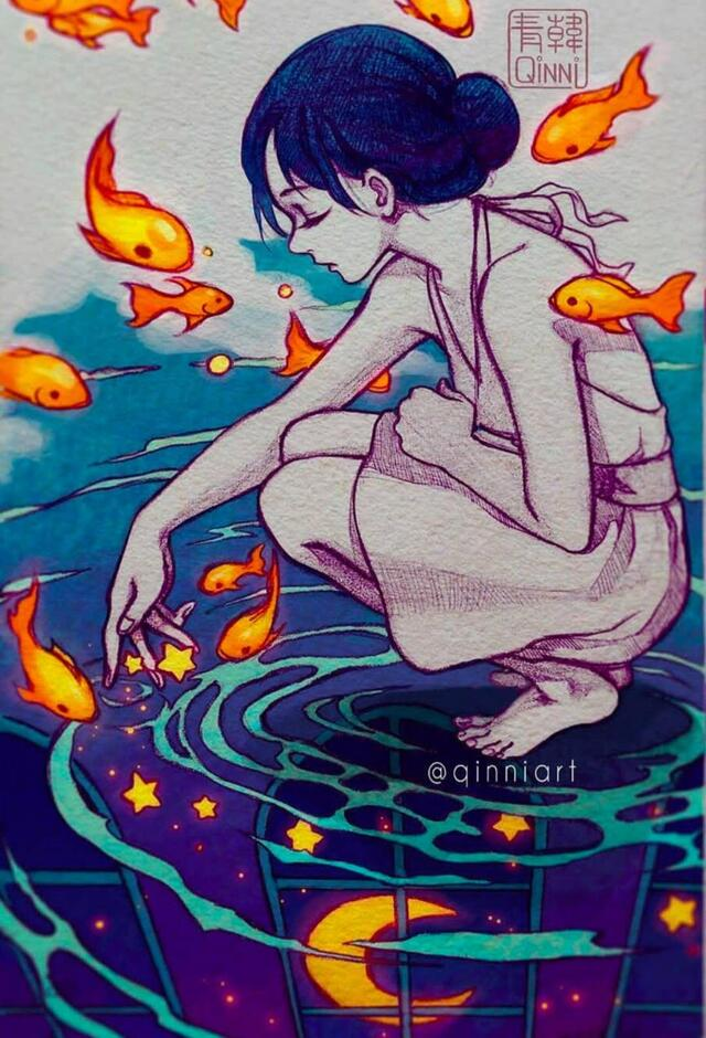 唯美水彩手绘人物插画,艺术家笔下的人物眼神里都透漏着淡淡的悲伤.
