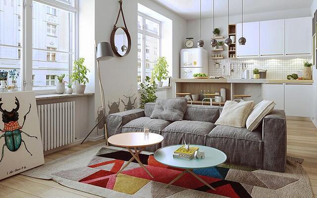 房子不一定大,北欧风格简约单身公寓装修效果图