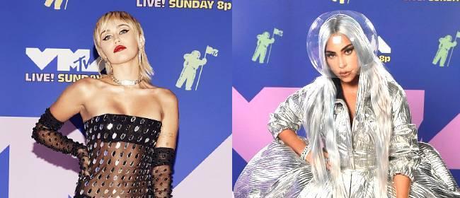 MTV奖红毯Gaga似炫酷女战士,麦莉全身透视盆栽哥脸挂彩
