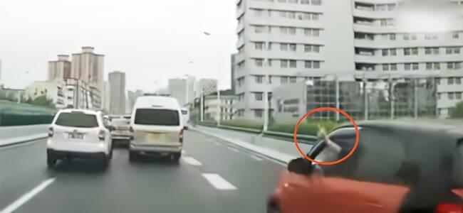 路怒司机强行变道还向后车比中指 下一秒悲剧了