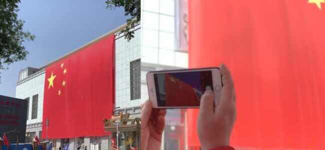 商场挂1千平米巨幅国旗,市民狂赞