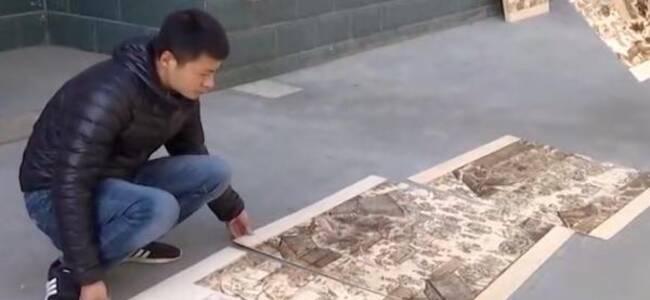 自学成才,村民花3个月创作16米长《清明上河图》烙画