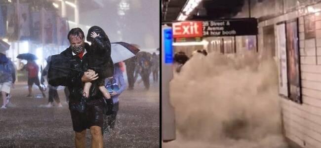 纽约遭百年特大暴雨地铁多处进水停运
