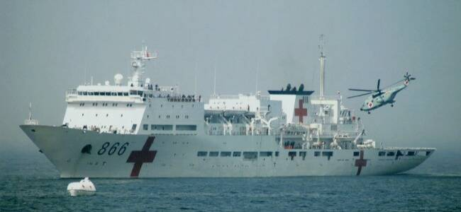 海军医院船东海演练战场救护