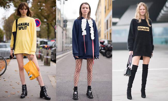 春末夏初秀美腿攻略:靠一件宽松卫衣裙将时髦走到底