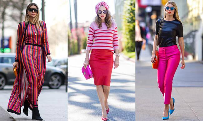 夏日穿上娇艳的玫红色