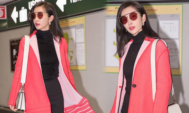 李冰冰启程米兰时装周 粉红色大衣超显气色!