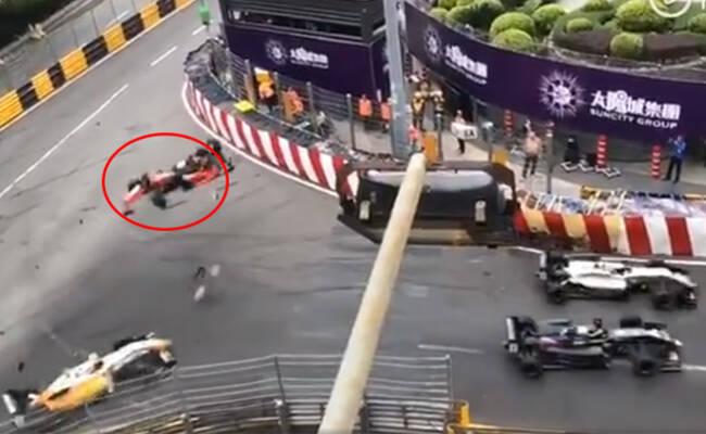 澳门:17岁女赛车手飞出赛道一幕