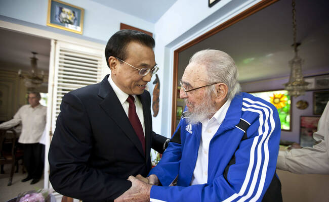 李克强与卡斯特罗会面一幕
