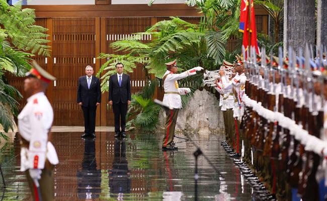 李克强访问古巴画面