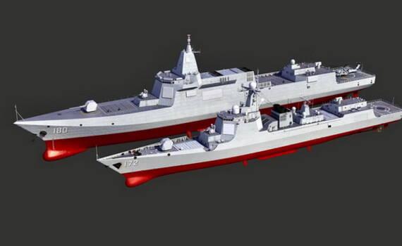 两代网红大驱对比 才知道055级舰原来有这么大!