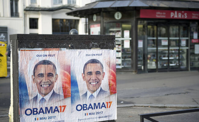 政治团体在巴黎街头张贴奥巴马海报 望其出任法国总统