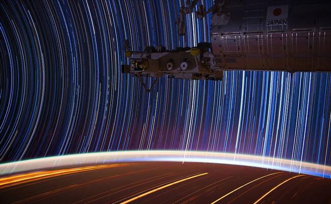 "NASA宇航员拍摄""星空轨迹"""