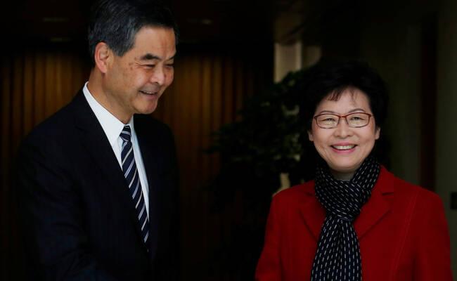 梁振英与林郑月娥会面