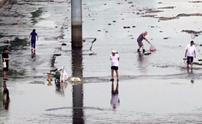 北京大雨后,一群人在护城河里捞鱼