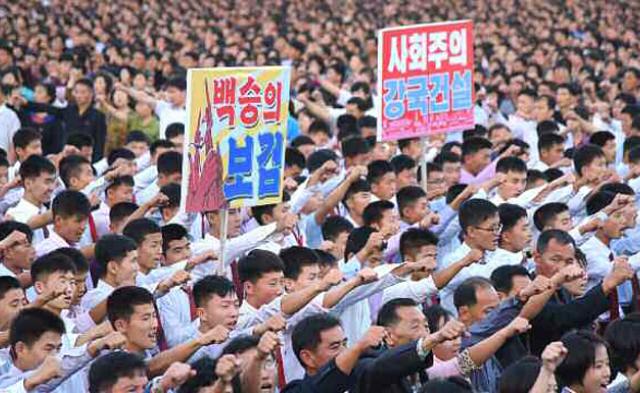 朝鲜大规模集会反特朗普和美国丨现场图