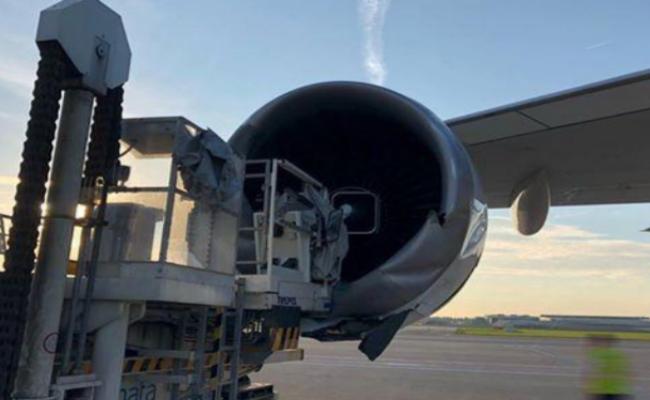 波音747与装载机相撞 发动机严重损坏