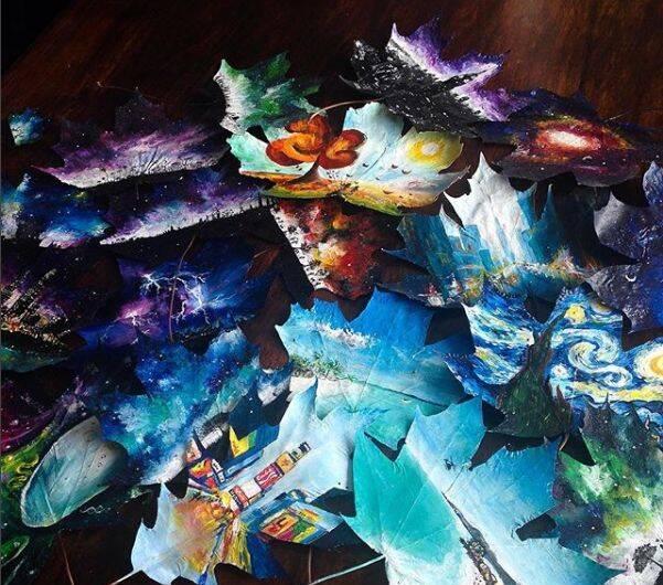19岁的天才少女画家,用落叶当画布,在一片树叶上造出令人震撼的梦幻世界!