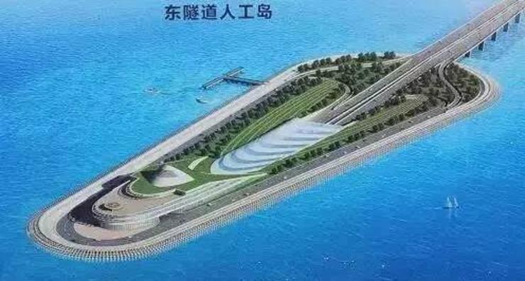 东隧道人工岛将建成1600米环岛观光步道,      让游客可以观赏伶仃洋上的碧海青天,