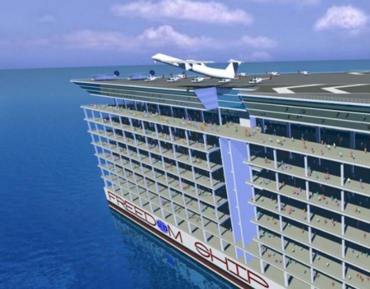 """美国就率先造出世界第一座""""海上浮城"""",这座""""海上浮城""""被命名为""""自由号""""海上漂浮城市。这座巨大的"""