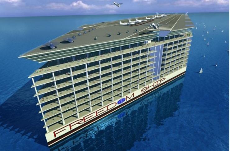 """""""海上浮城""""有25层高,共可以接纳3万多人的游客。浮城顶端的平台可以供飞机起飞和降落。可以说是一"""