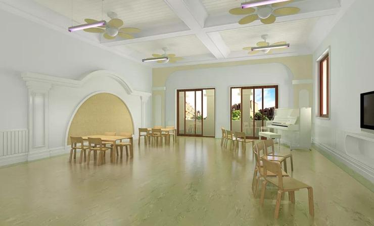园区内欧式风格的建筑与装修精致典雅,音体室,建构