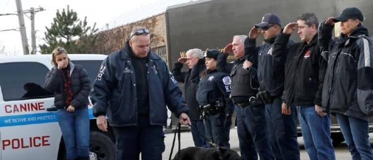 美警犬患癌接受安乐死 警察列队送别