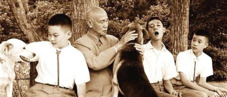 蒋介石晚生活:孙子满堂 最爱遛狗