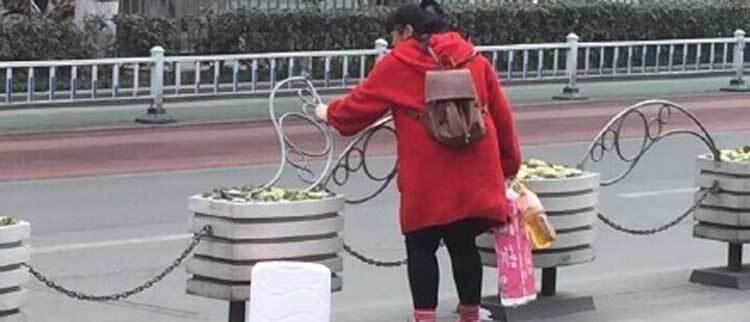 女子横穿马路嫌隔离栏挡路 将其掰掉
