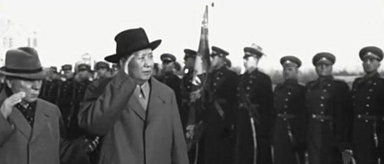 毛泽东带团访问苏联 会见斯大林