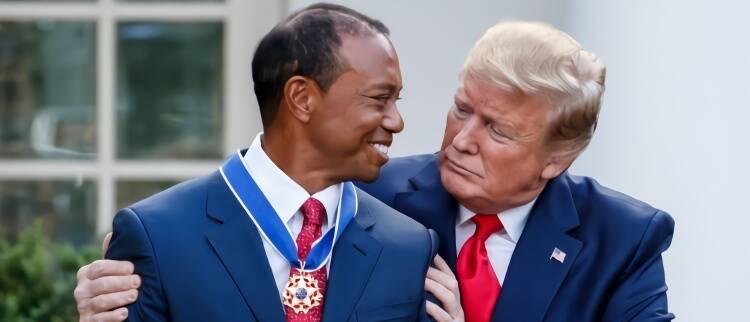 特朗普为伍兹颁发总统自由勋章