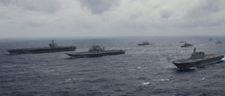 日准航母领衔 美日印三国参加关岛演习