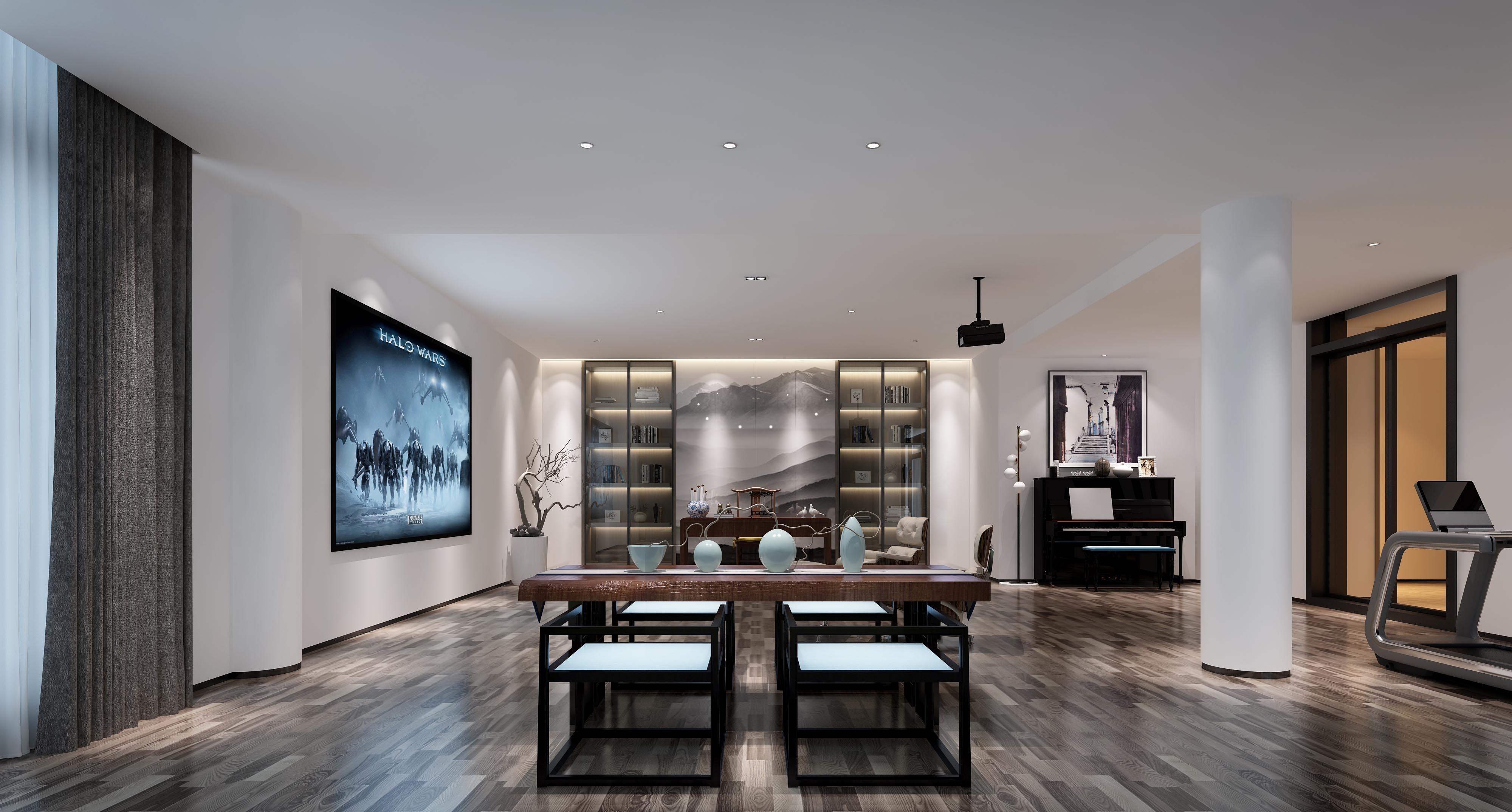 現代的北歐風格幾乎摒棄了所有不必要的墻面裝飾。白、黑、棕、灰和淡藍等顏色都是北歐風格裝飾中常使用到的色彩元素,轉換間不顯生硬,彰顯獨有的簡潔和舒適。本案由品清設計師朱清林完成。  客廳 極簡的立方體空間以白色為主背景,不加以一絲圖案的裝飾將簡單的概念直白地展現在眼前。木質儲物柜嵌于墻面減少單調感,強大的儲物能力既可起到裝飾作用又帶著一定的文化氣息。  餐廳 房頂的枝狀裝飾帶著點點綠意,少而精的點綴為餐廳的深灰色用餐氛圍進行了氣氛的緩和,有著遠離城市喧囂的舒適和自然感。大塊落地窗設計將幾個空間在無遮蔽的情