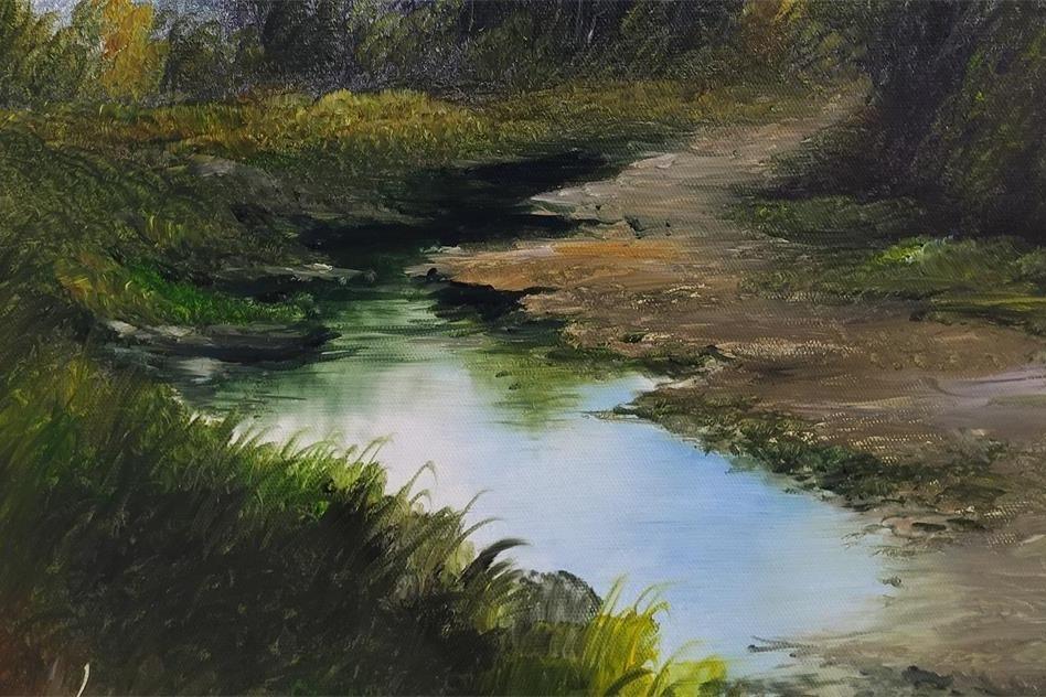 刀画中乡间田野路边的水塘清澈明亮,水中倒影是怎么画的呢