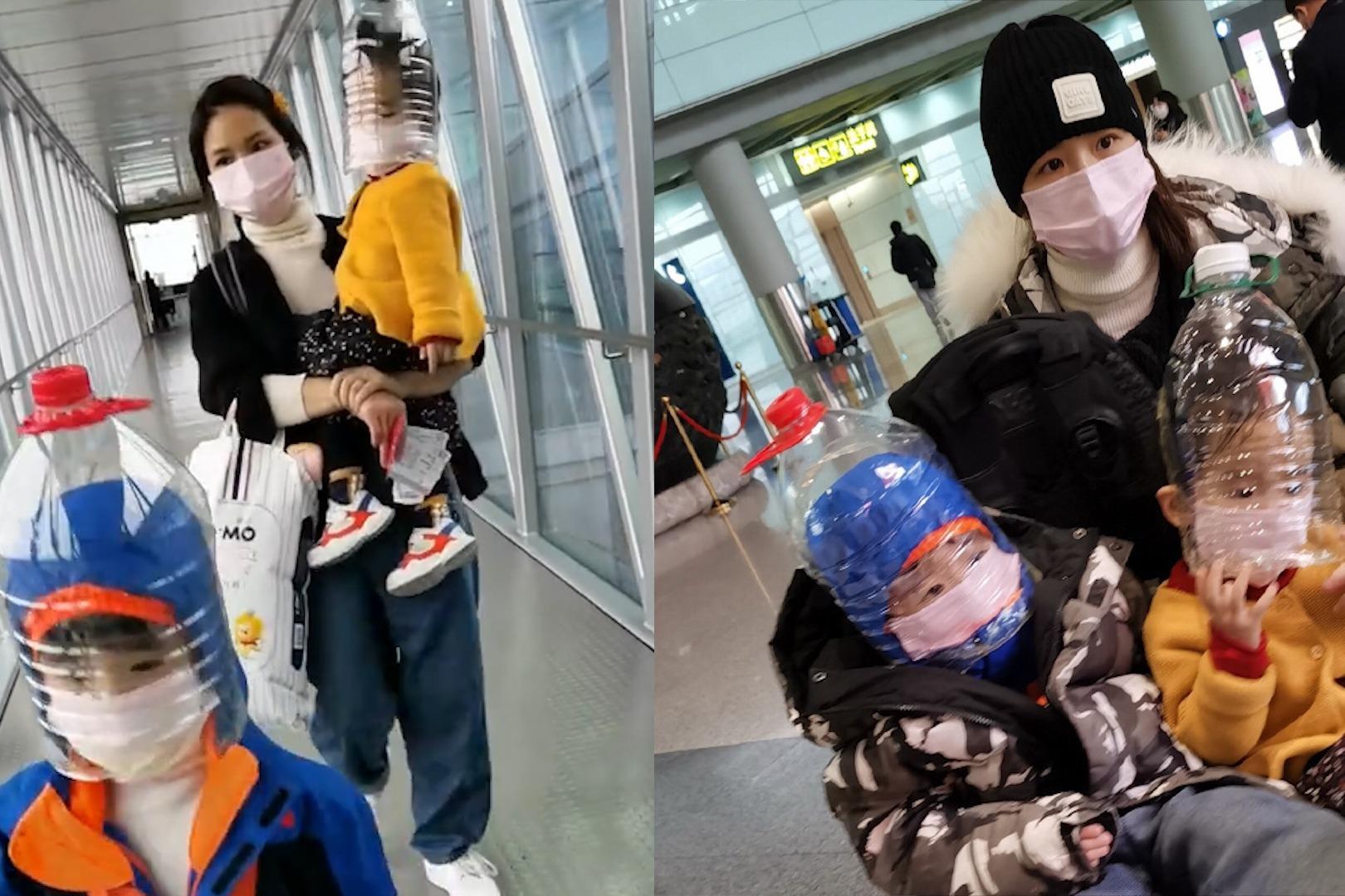 全副武装!黄英一家硬核防疫,用塑料瓶自制面罩全方位无死角防护