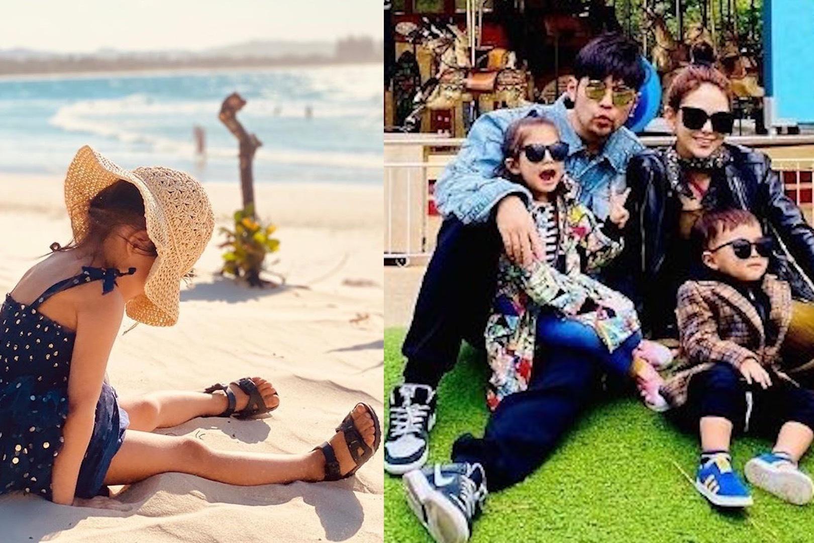 周杰伦与昆凌国外度假晒小周周沙滩照,小长腿格外抢镜